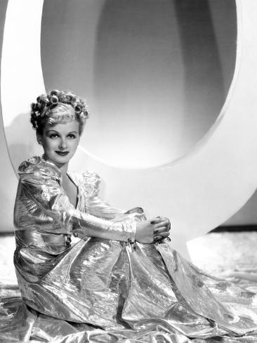 Artists and Models Abroad, Joan Bennett Wearing Gold Lame Negligee Designed by Edith Head, 1938 Stretched Canvas Print