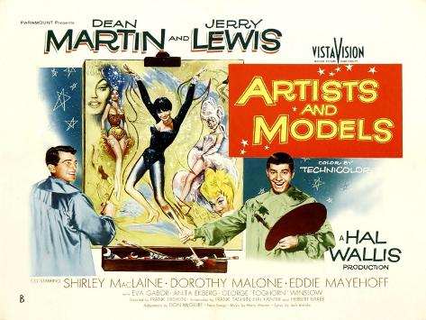 Artists and Models, UK Movie Poster, 1955 Art Print