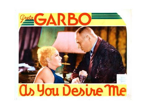 As You Desire Me, from Left: Greta Garbo, Erich Von Stroheim, 1932 Impressão giclée