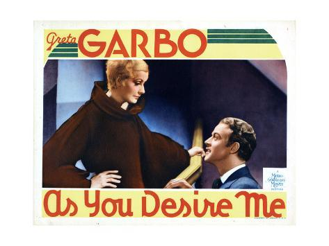 As You Desire Me, from Left, Greta Garbo, Roland Varno, 1932 Giclee Print