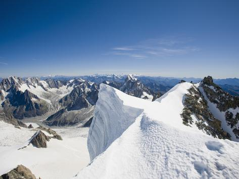 The Summit of the 4000 Meter Peak of Mont Blanc Du Tacul Above Chamonix France Photographic Print
