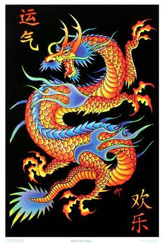 Asian Dragon Flocked Blacklight Poster Mustavalojuliste