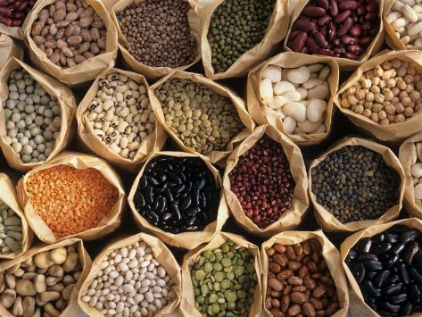 Assorted Peas, Lentils and Beans in Paper Bags Photographic Print