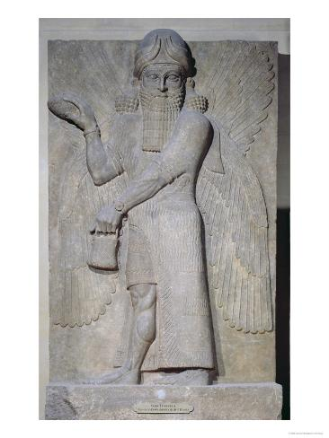 Relief Depicting a Winged Genie, from the Palace of Sargon II at Khorsabad, Iraq Giclee Print