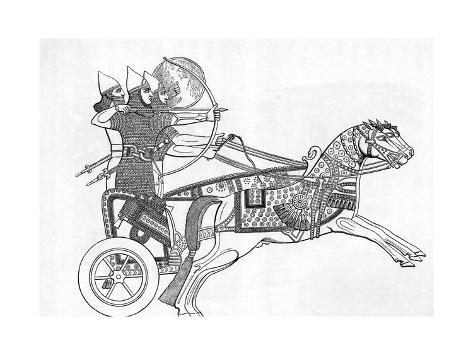 Assyrian Warriors In Chariot Bowarrow Giclee Print At Allposters Com