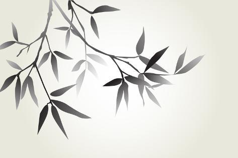 Bamboo Illustration, Japanese Calligraphy Photographic Print
