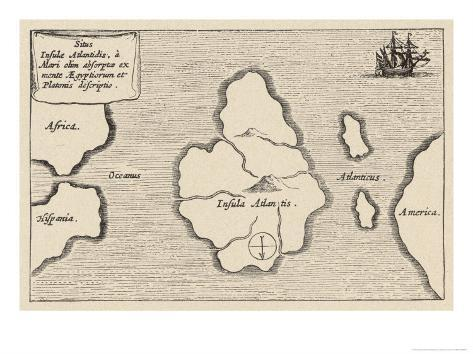 Map of Atlantis Showing Position Relative to Europe Africa and America Giclee Print
