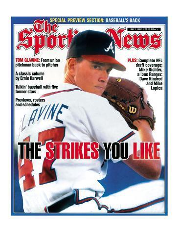 Atlanta Braves Pitcher Tom Glavine - May 1, 1995 Stretched Canvas Print