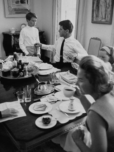Attorney General Robert F. Kennedy and His Family Sharing Breakfast Photographic Print