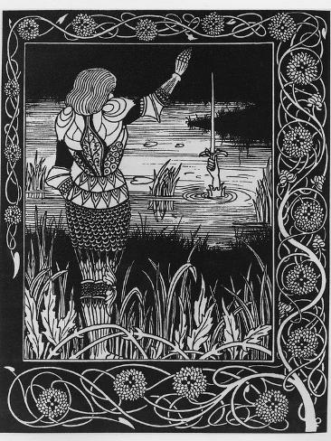 How Sir Bedivere Cast the Sword Excalibur into the Water, an Illustration from 'Le Morte D'Arthur' Giclee Print