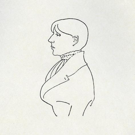 Portrait of the Artist in Outline Impressão giclée