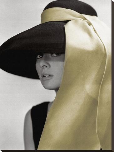 Audrey Hepburn-Hat Stretched Canvas Print