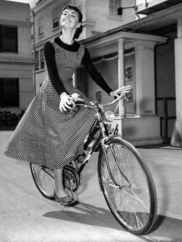 Audrey Hepburn on Set of Film Sabrina 1954 (Dress by Givenchy) Photo