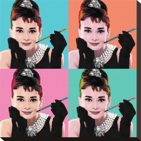 Audrey Hepburn (Pop Art) Stretched Canvas Print - AllPosters.co.uk