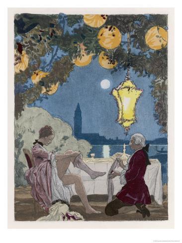 Giovanni Giacomo Casanova Chevalier de Saingalt Italian Adventurer Helps C C with Her Stockings Giclee Print