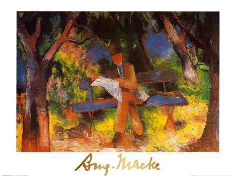 Lesender Mann in Park, c.1914 Art Print