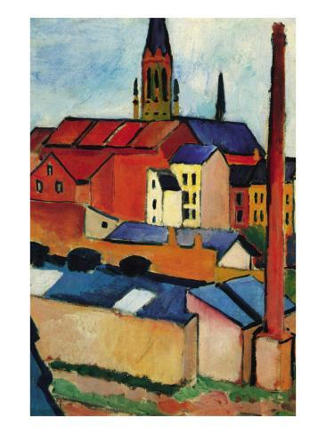 St. Mary's Church with Houses and Chimney Art Print