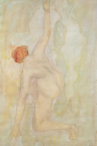 Female nude (pencil and w/c on paper) Lámina giclée