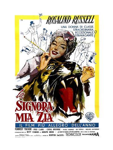 Auntie Mame, (AKA La Signora Mia Zia), Italian Poster Art, Rosalind Russell, 1958 Giclee Print