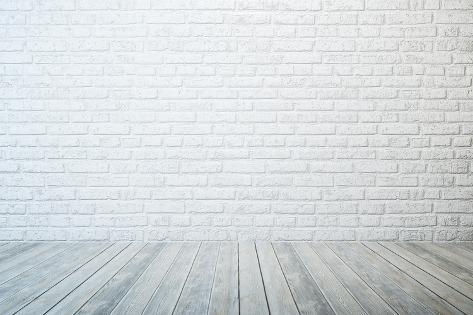 Empty Room With White Brick Wall And Wooden Floor Posters By Auris At Allposters