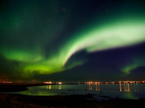 Aurora Borealis in the Sky, Alftanes, Reykjavik, Iceland Photographic Print