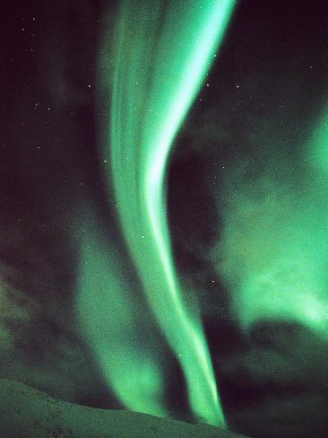 Aurora over Tromso Stretched Canvas Print
