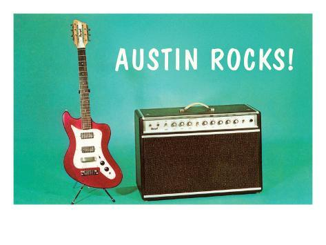 Austin Rocks Electric Guitar and Amp Art Print