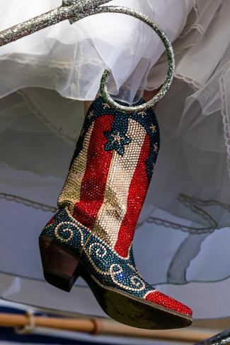 Red White Blue Sequin Cowboy Boots for
