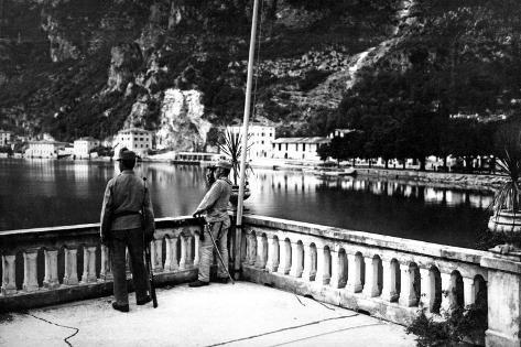 Austrian Officer Raking the Lake Garda Stampa fotografica