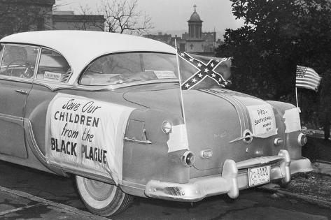 Automobile Decorated with Signs and American Flags Photographic Print