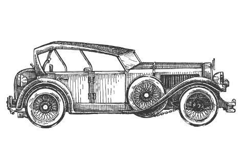Retro Car Vector Logo Design Template. Transport or Vehicle Icon. Stampa artistica
