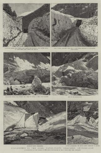 Avalanches in the Zuge, Davos-Platz, Engadine, Switzerland Giclee Print
