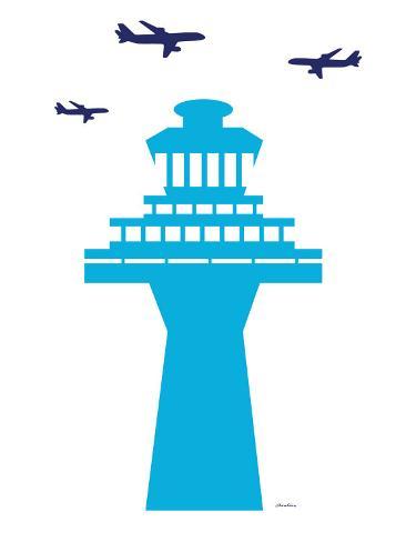 Blue Traffic Tower Art Print