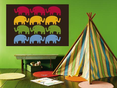 Brown Elephant Family Wall Mural