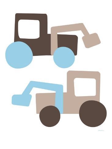 Brown Tractors Art Print