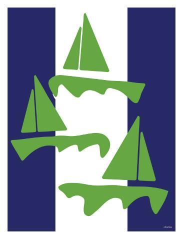Green Sail Boats Stampa artistica
