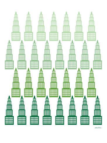 Green Skyline Art Print