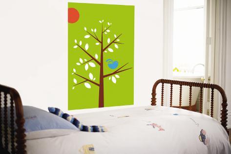 Green Songbird Wall Mural