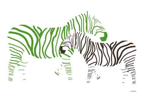 Green Zebra Art Print