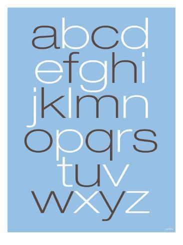 Lower Case Alphabet on Blue Art Print