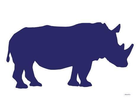 Navy Rhino Art Print