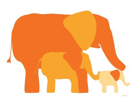 Orange Elephants Art Print