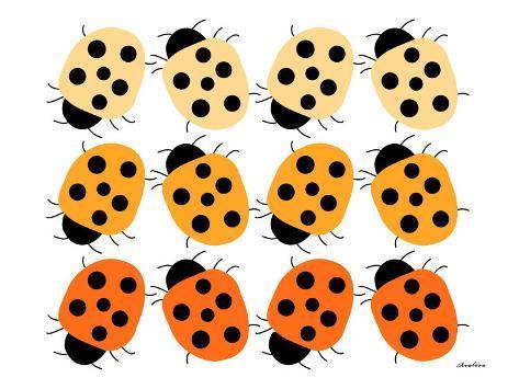 Orange Lady Bug Family Art Print