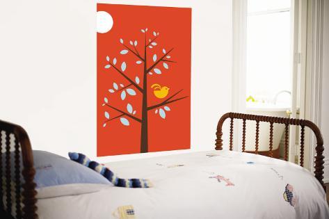 Orange Song Bird Wall Mural