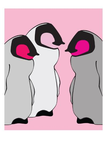 Pink Baby Penguins Art Print