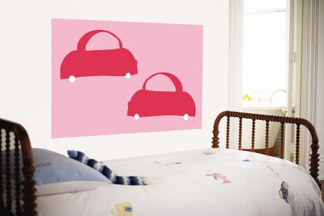 Pink Cabs Wall Mural
