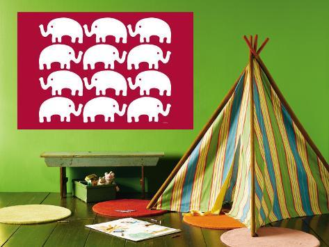 Red Elephant Family Wall Mural