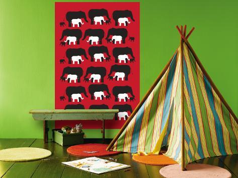 Red Elephant Pattern Wall Mural