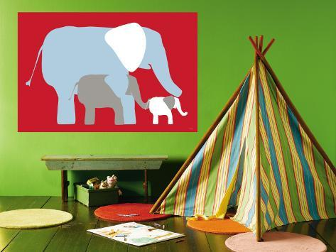 Red Elephants Wall Mural