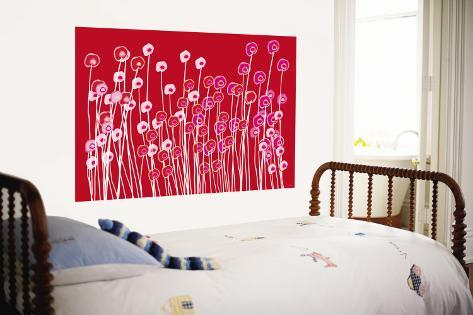 Red Wildflowers Wall Mural